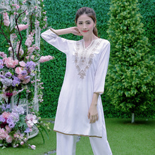 Indian Dress for Women Ethnic Blouses Meditation Clothes Indio Costume Cotton Silk Embroidery Top Lo