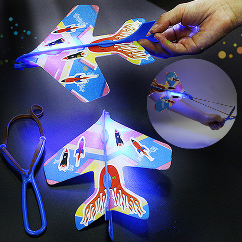 DIY Flash Ejection Cyclotron Light Plane Slingshot Aircraft For Kids Gift Toys