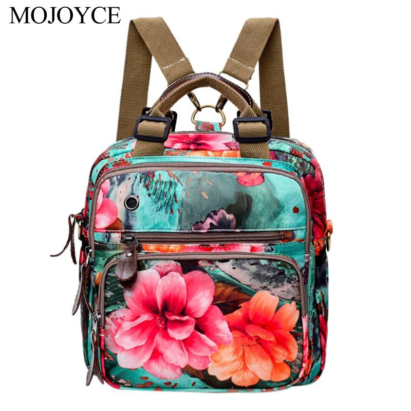 New Chinese Style Women Retro Flowers Print Rucksack Zipper Travel Casual Backpack Portable Large Capacity Shoulder Bag