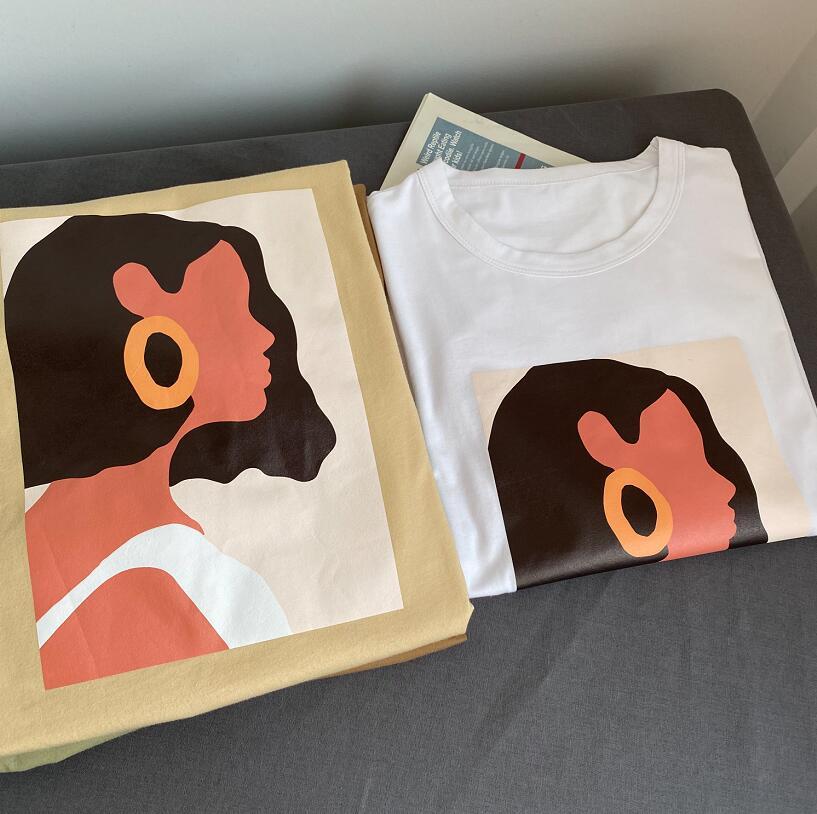 Toppies 2020 summer character t-shirts fashion girls tops short sleeve printing t-shirts korean women clothes 95% cotton 5