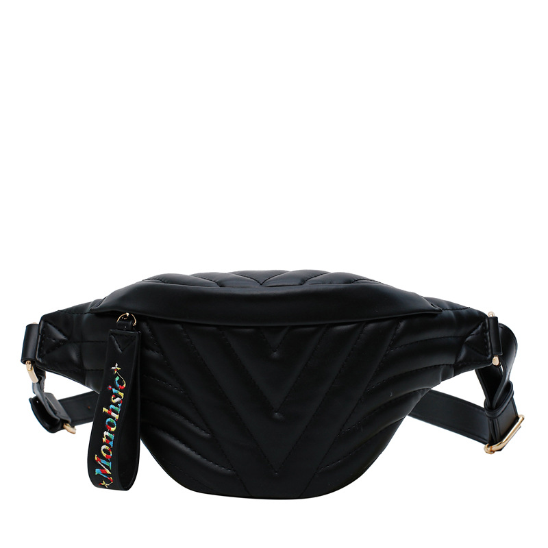 Fashion Waist Bag Embroidery Thread PU Leather Fanny Pack Bag On A Belt Bananka Women Satchel Catwalk Women Belly Band Belt Bag