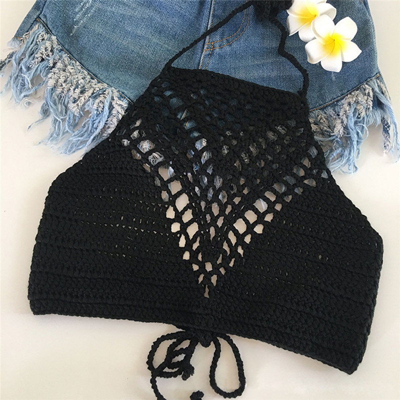 1PC Tank Tops Shirt Plain White Halter Vest Strap Crop Tops Bra Beach Bikini Summer Short Vest Sexy Hollow Out Crochet Bikini
