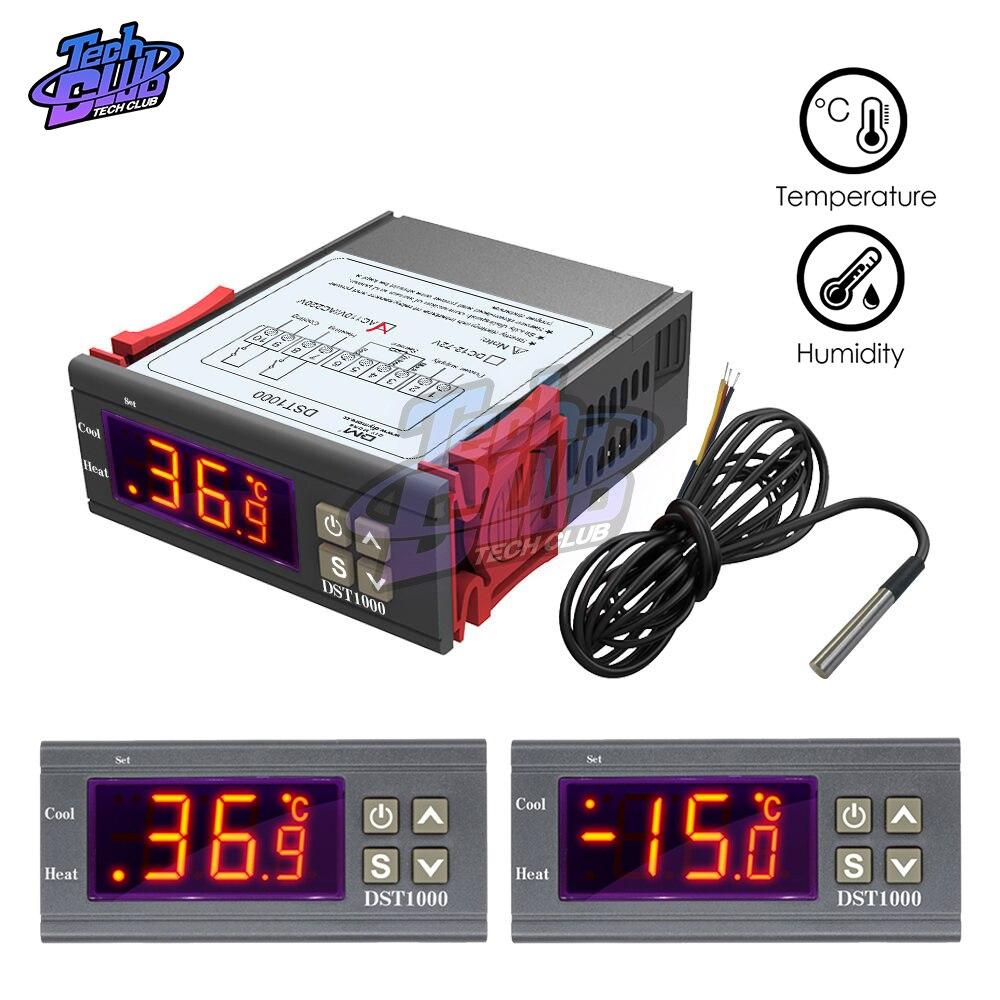 DST1020 Pantalla Doble Termostato Regulador de Temperatura Cable DS18B20 DC 12-72V