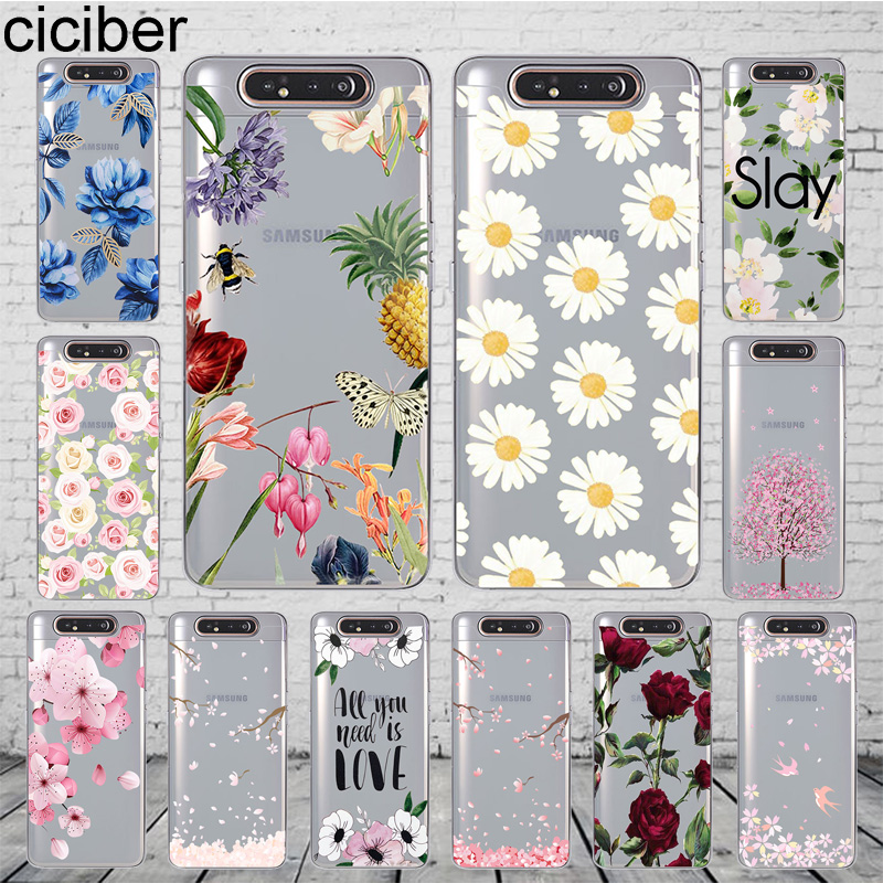 ciciber Phone <font><b>Case</b></font> <font><b>Cover</b></font> for <font><b>Samsung</b></font> <font><b>Galaxy</b></font> A50 A70 A80 A60 <font><b>A40</b></font> A30 A20 A10 A20e Soft Silicone TPU Fundas Flower Plum Blossom image
