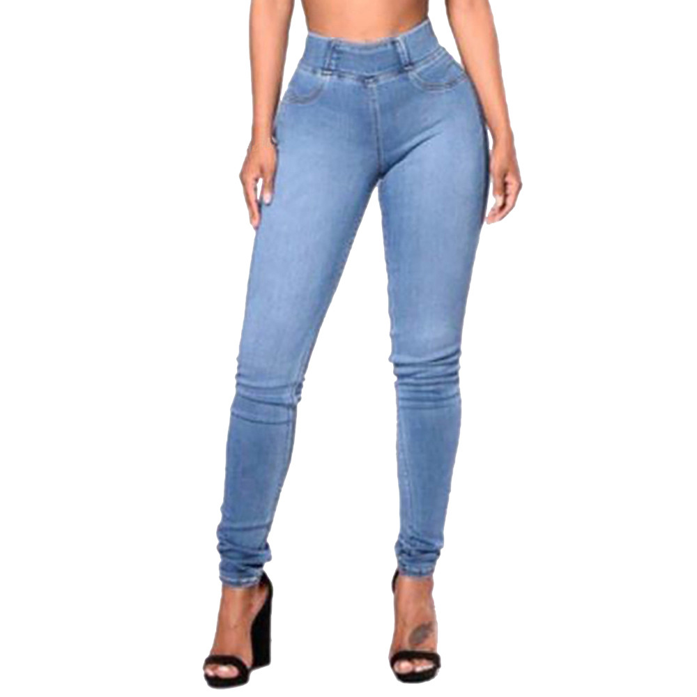 New Fashion Ladies Solid Color Slim Denim Feet Pencil Wild Trousers Trend Skin-friendly Breathable Pants#YL10