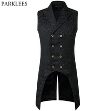 Mens Black Gothic Steampunk Vest 2019 Brand New Medieval Jacquard Double Breasted Vest Waistcoat Men Stage Cosplay Prom Costume