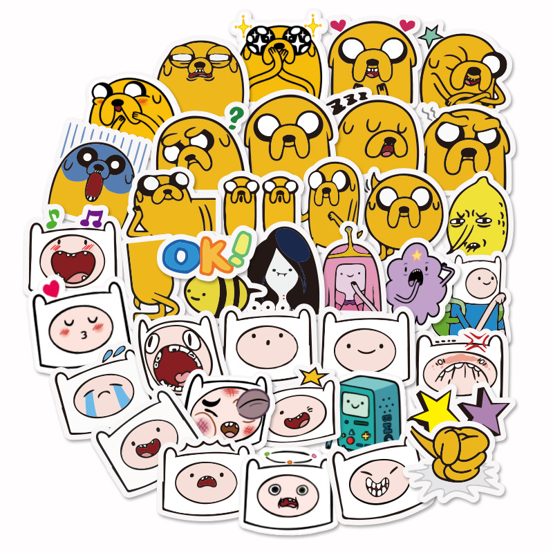 40pcs Mini Adventure Time Cartoon Waterproof Stickers PVC For Luggage Phone Laptop Bicycle Laptop Cute Toys Sticker F5