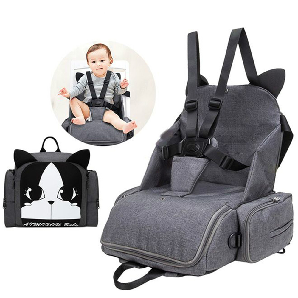Toddler Dining Travel Booster Seats Child Car Safety Seats Multi-function Diaper Backpack Shoulder Maternity Dining Chair Bag