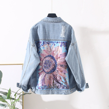 Korean Handwork Patch Design Print Denim Jacket Women Basic Outerwear Harajuku L
