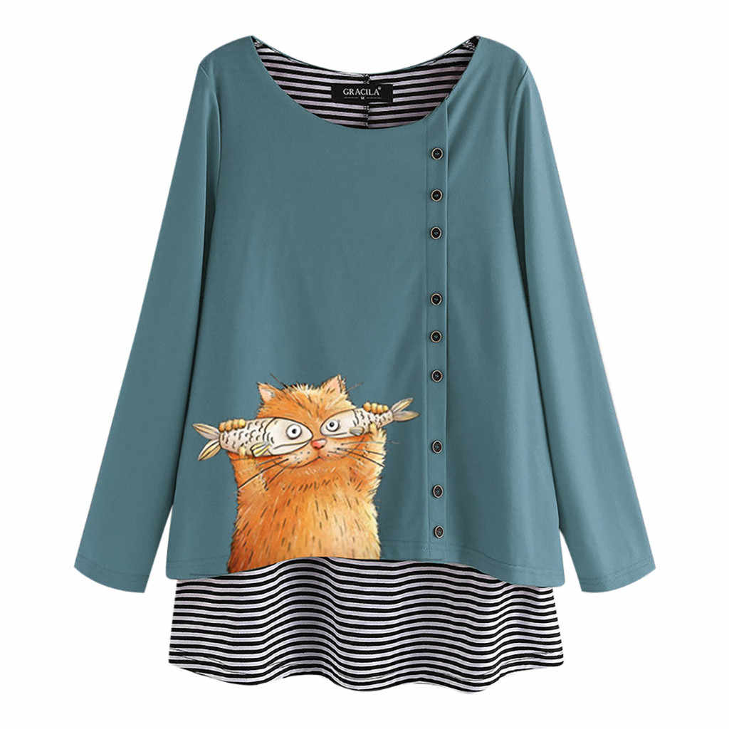 Womens Tops And Blouses Casual Cartoon Cat Stripe Fake Two Pieces O-neck Long Sleeve Top Blouse Loose Blusas Femininas Chemisier