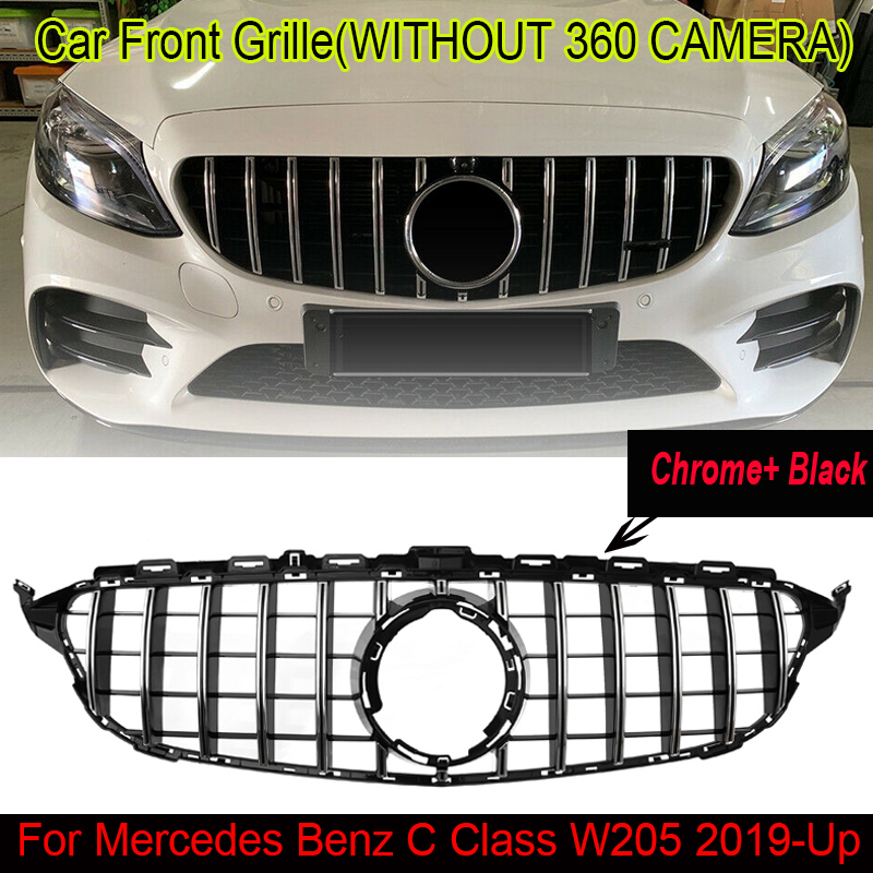 MagicKit For Mercedes Benz C Class <font><b>W205</b></font> 2019+ <font><b>AMG</b></font> GT R Grille High Quality Black Chrome Front Grill image