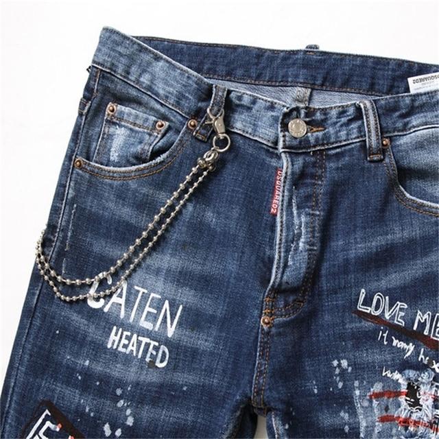 EH · MD®Perle pendentif décoré jean hommes brodé cassé pantalon encre pantalon peint lettres mince coton rouge oreilles doux 2020