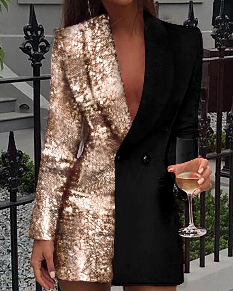 Цветной блок блёстки с длинным рукавом Блейзер платье двубортный Зубчатый воротник с лацканами офисное платье