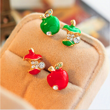 The European and American Fashion Personality Red Glaze Asymmetric Small Apple Earrings Earrings for Women(China)