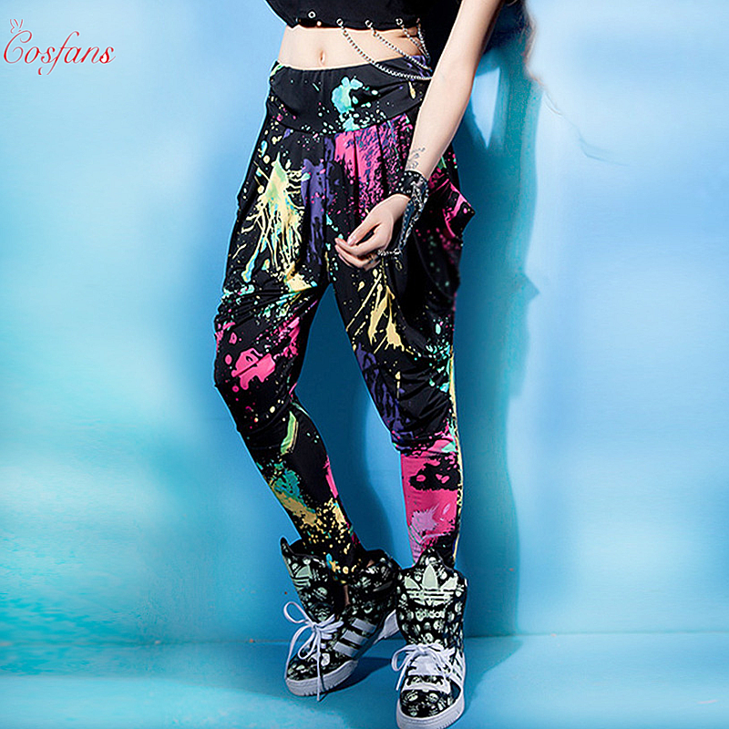 Candy Colors Sweatpants Personality Casual Doodle Spring Summer Trousers Loose Neon Street Dance Costume Harem Hip Hop Pants