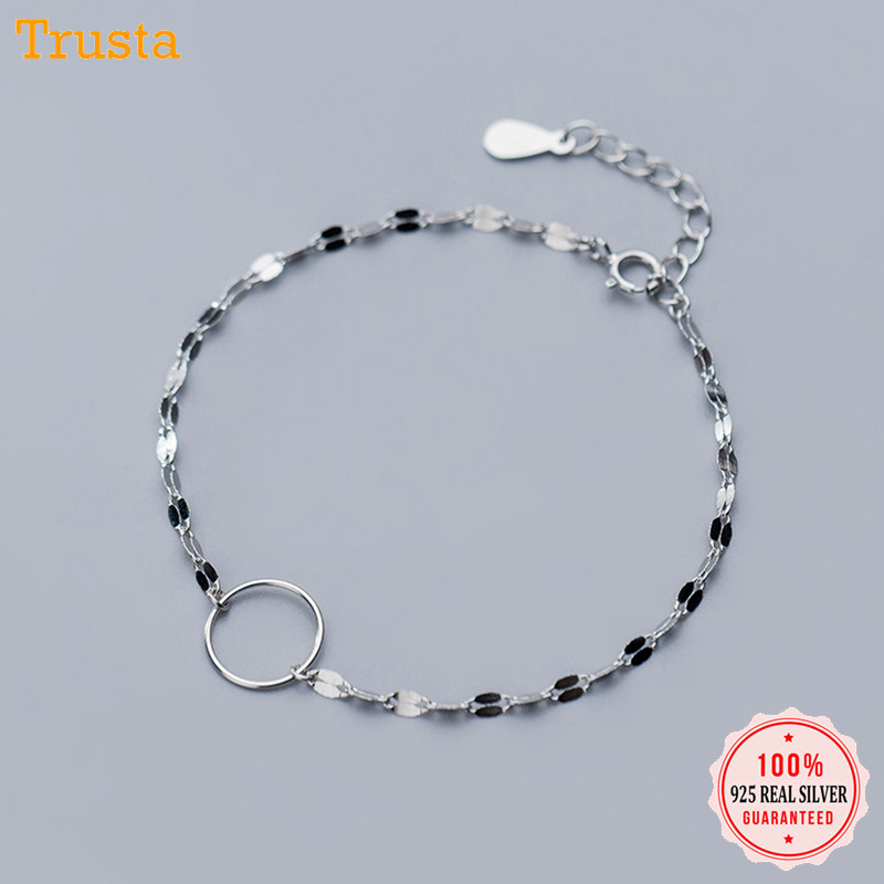 Trustdavis 100% 925 Solid Sterling Silver Fashion Jewelry Chain Hollow Round Bracelet Anklets For Women Wife Best Friend DA267