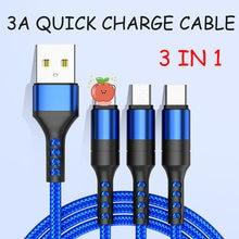 3in1 micro usb tipo c 8pin multi cabo carregador para p40 plus s10 cabos do telefone móvel cabo de carregamento cabel