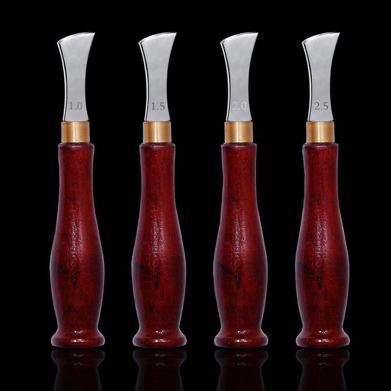 MIUSIE Leather Arch Edge Ebony Handle Creaser 1-2.5mm Leather Craft DIY Shallow Handle Edge Creasing Stroke Line Tool Handmade