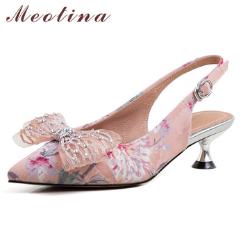 Meotina High Heels Women Pumps Embroider Flower Kitten Heel Slingbacks Shoes Bow Buckle Pointed Toe Party Shoes Lady Size 34-39