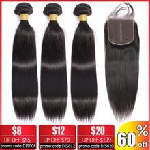 Beauty Grace Steil Haar Bundels Met Sluiting Non Remy Peruaanse Menselijk Haar Bundels Met Sluiting Brazilian Hair Weave Bundels