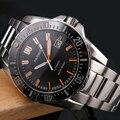 Мужские наручные часы Parnis Diver  водонепроницаемые часы из нержавеющей стали с оранжевыми ручками  автоматические механические металлически...
