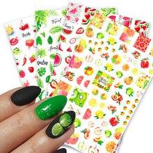 1 pçs verão frutas tipo 3d unhas arte adesivos melancia morango limão design adesivo sliders manicure acessório decoração