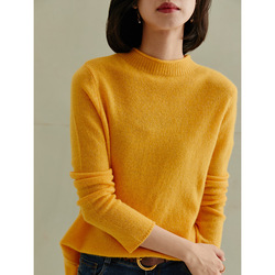 Jersey de Cachemira de cuello alto para mujer jersey de manga larga de talla grande tejido dorado femenino suelto 2020 Otoño Invierno envío gratis