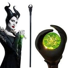 Novo anime maleficent acessórios cosplay adereços bruxa varinha mágica pvc cetro led bengala bengala festa halloween carnaval prop