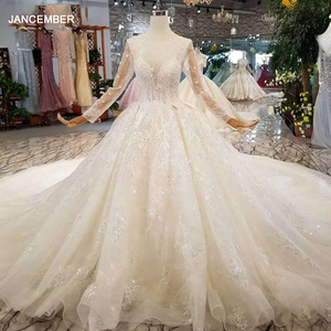 Image 1 - LSS156 see through wedding dress illusion o neck long sleeves lace up back beauty vestidos de novia baratos con envio gratis