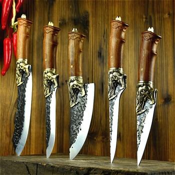Longquan handmade beat sharp kitchen knife household kitchen set of 6 knives boning slicer butcher knife meat stand knife 1