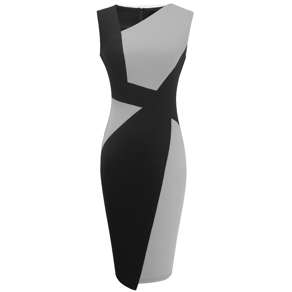 Vintage Women Patchwork Asymmetrical Collar Elegant Casual Work Office Sheath Slim Dress EB517 7