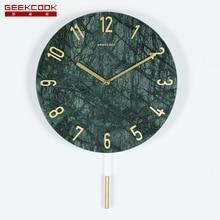 Современный минималистский Мрамор настенные часы портрет мечтательной с цифровым адресным интерфейсом 12-дюймовый Северной Европе-Стиль креативные домашние украшения