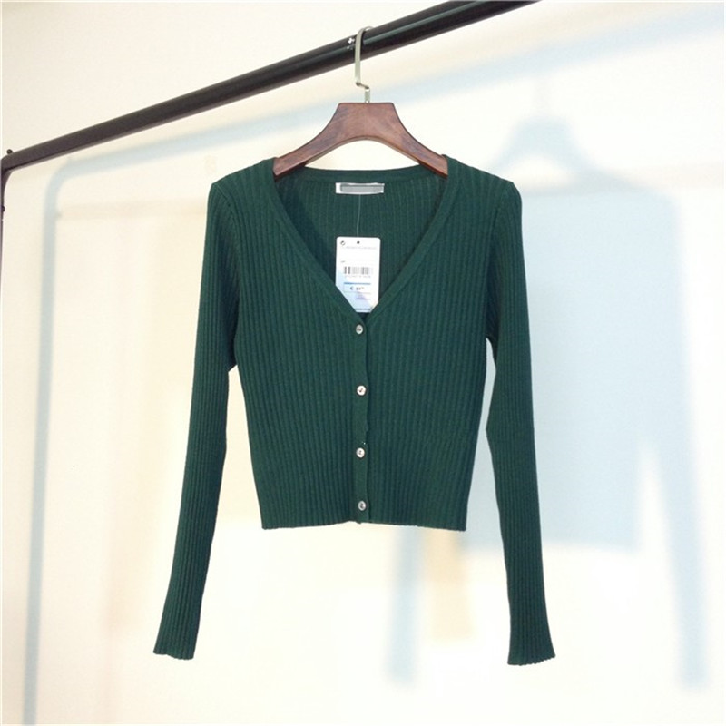 MATAKAWA Sexy Long Sleeve Buttons Women's Sweater Patchwork  2020 Fashion Ribbed  Slim Sweaters Ladies Knitted Cardigan 8