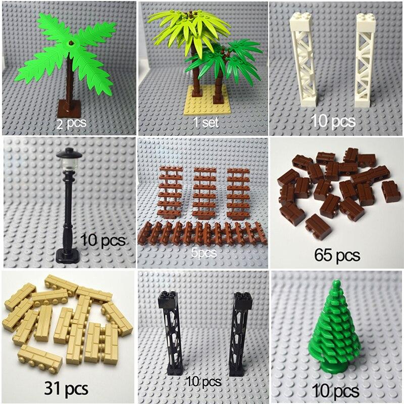 Ville accessoires blocs de construction arme militaire buisson vert fleur herbe arbre plantes maison jouets compatibles toutes les marques