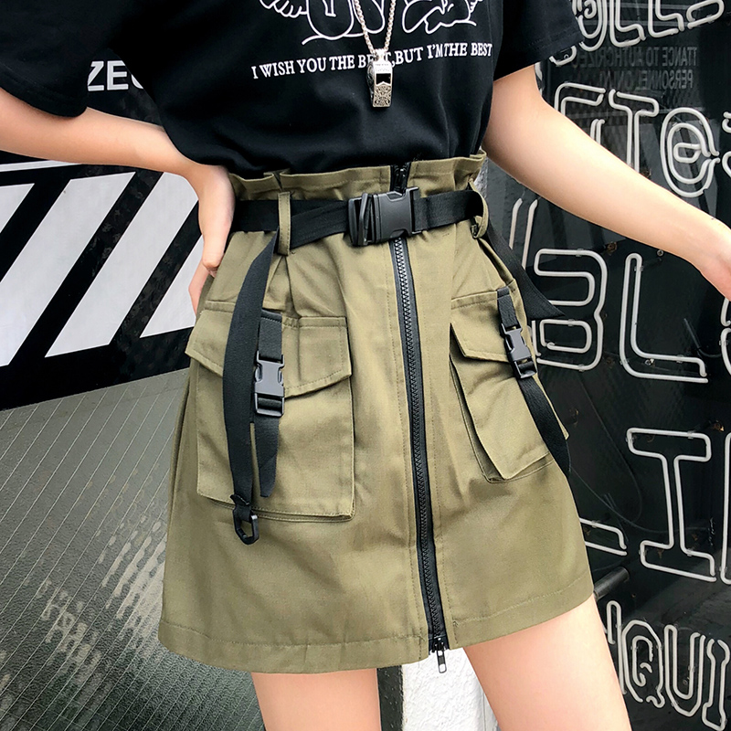 Half-length Skirt Women Pocket Skirt Sashes Ladies Short Tool Skirt   Summer 2019 Korean A Line Zipper One-Step Skirt With Belt