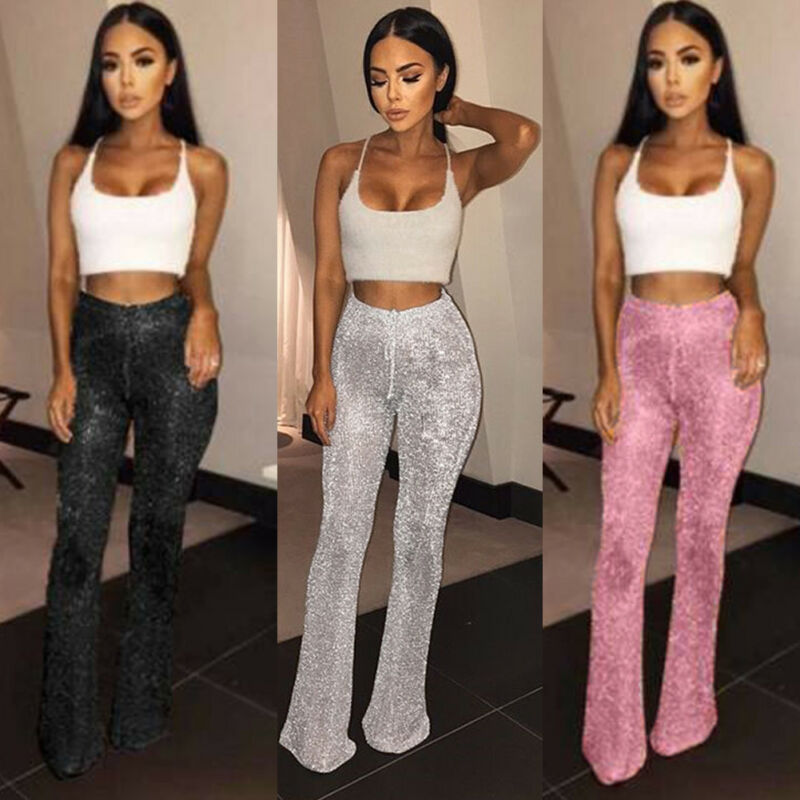 Sequins Shiny Long Pants Woman Glitter Silver Black Pink High Elastic Waist Drawstring Slim Trousers  Party Dance Flared Legs