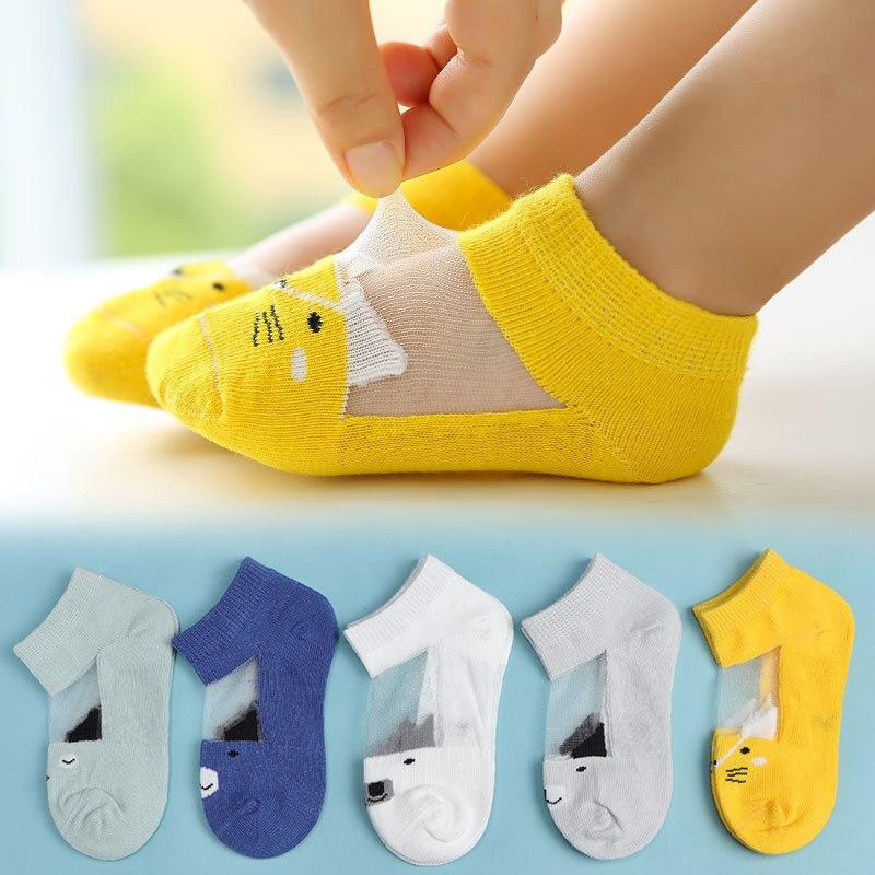 CHILDREN'S Socks Cartoon Glass Silk Stockings Infant Cotton Socks Children's Socks BOY'S Girls No-show Socks Summer Children Soc