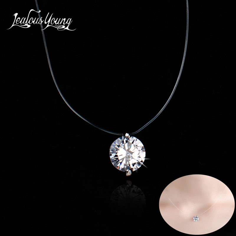 New Korean Women Silver Round Zirconia Pendant Necklaces Invisible Transparent Fishing Wire Choker Fashion Jewelry Gift