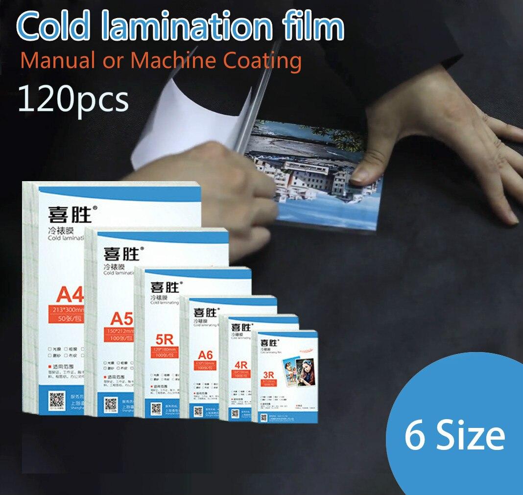 6 boyutu 120 adet soğuk laminasyon filmi 6 7 5 inç A4 PVC şeffaf fotoğraf el ve makine manuel numune film yerleştirme