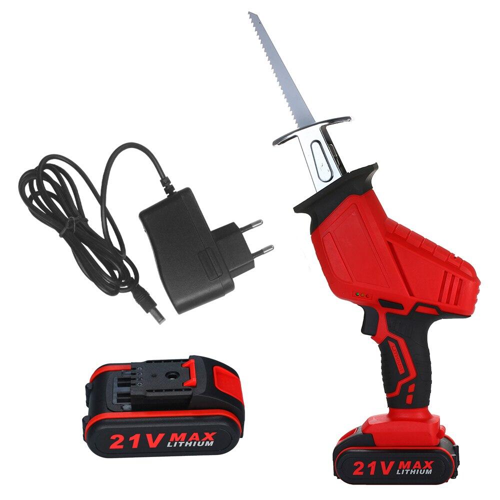 21V 3500mAh Bateria De Lítio Recarregável Reciprocating Saw Serra Elétrica Portátil Mini Máquina de Serrar Varredura-serra Pequeno Corte serra