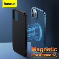 Baseus-Funda de cuero magnética para iPhone 12, carcasa trasera completa magnética para teléfono, Mini Pro Max, PU