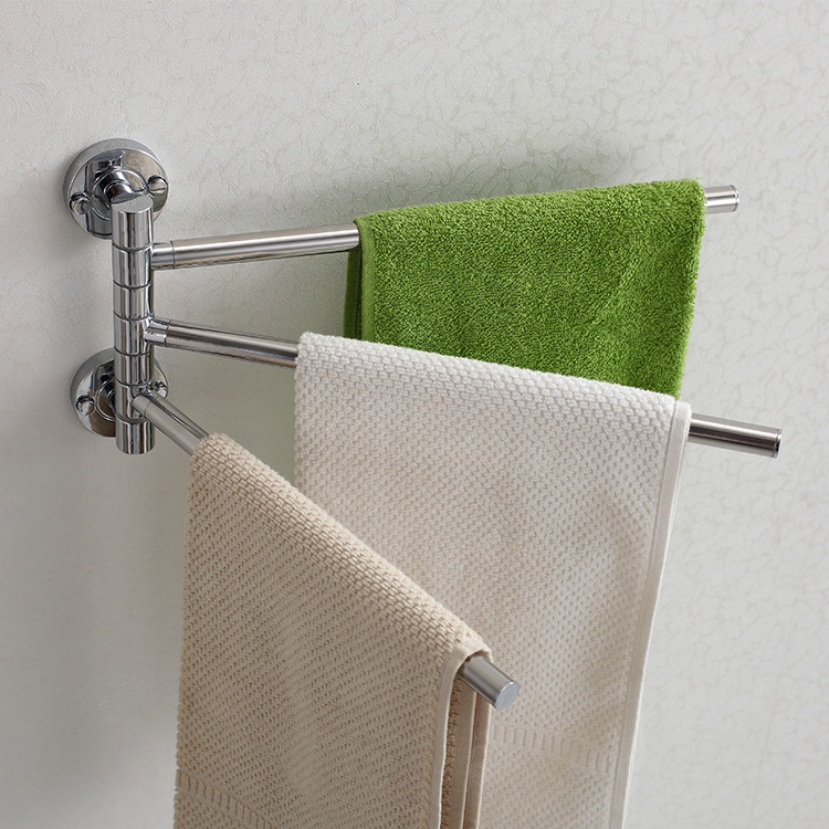 Foshan Manufacturers Wholesale Light Stainless Steel Activity Towel Rack Bathroom Hardware Bathroom Pendant Double Poles Towel R
