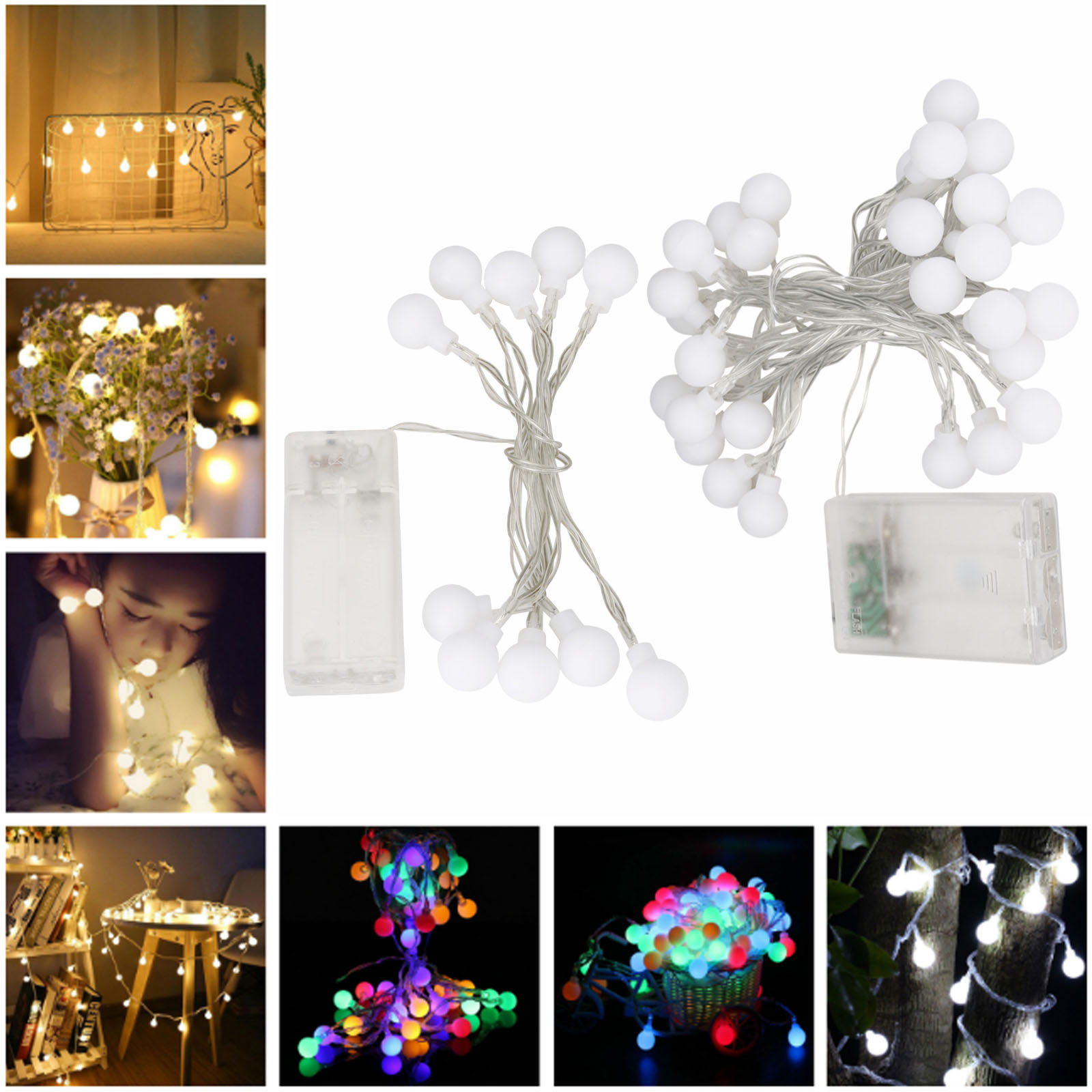 1M 2M LED Round Ball String Christmas 10 20LEDS Blubs Festival Wedding Party Fairy Lights Lamp For Party Wedding DIY Decoration