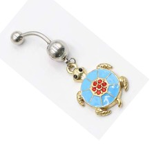 1Pcs Crystal Turtle Dangle Body Piercing Navel Belly Button Ring Bar Women Dance Multicolor