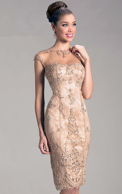 2015 Cap Sleeves Sheer Illusion Knee Length Appliques Lace Champagne Mother Of The Bride/Groom Dresses Short Evening Dresses