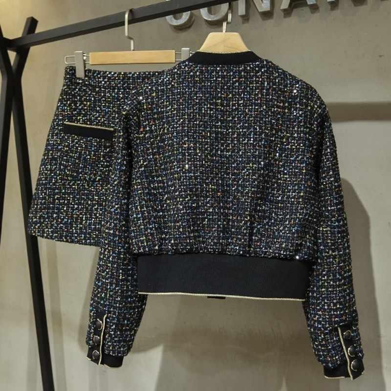 Lantejoulas senhoras outono novo ajuste fino saias de duas peças conjuntos manga longa único breasted o-pescoço jaquetas curtas bolsos a linha saias