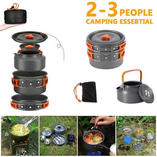 Kit de panelas acampamento ao ar livre conjunto de cozinha de alumínio chaleira água pan pot viajar caminhadas piquenique churrasco utensílios de mesa equipamentos 3