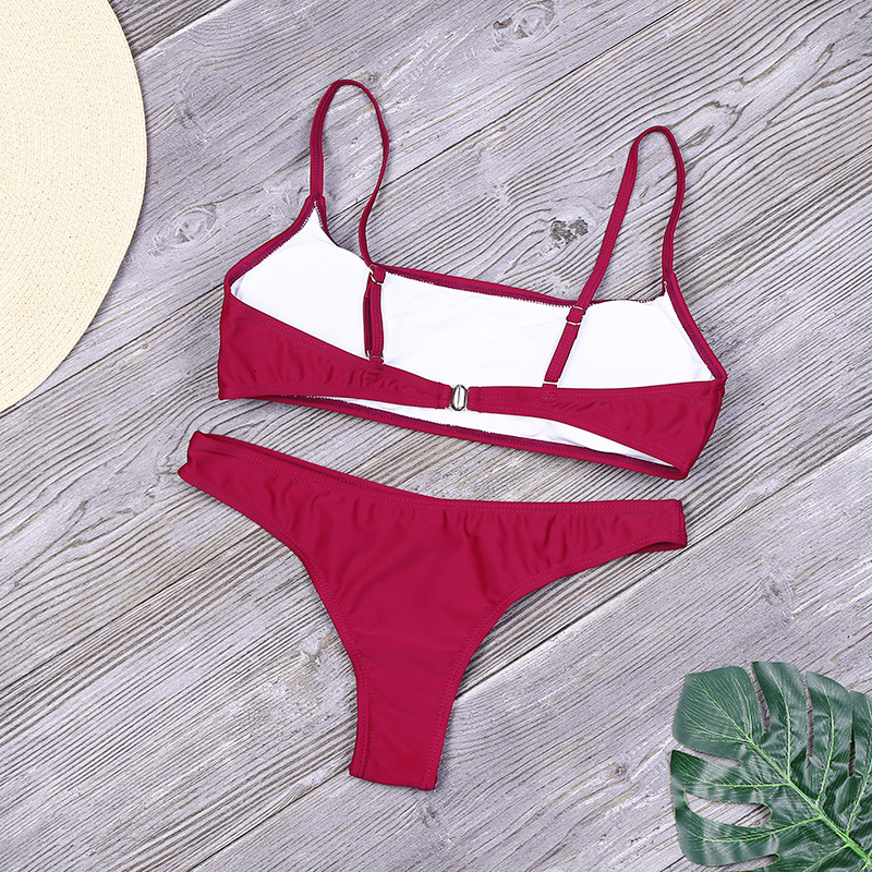 Lefeel Solid Bikini Set Women Sexy Brazilian Swimsuit Bikinis Summer Tube Top Swimwear Low Waist Bathing Suit Female Biquini 4