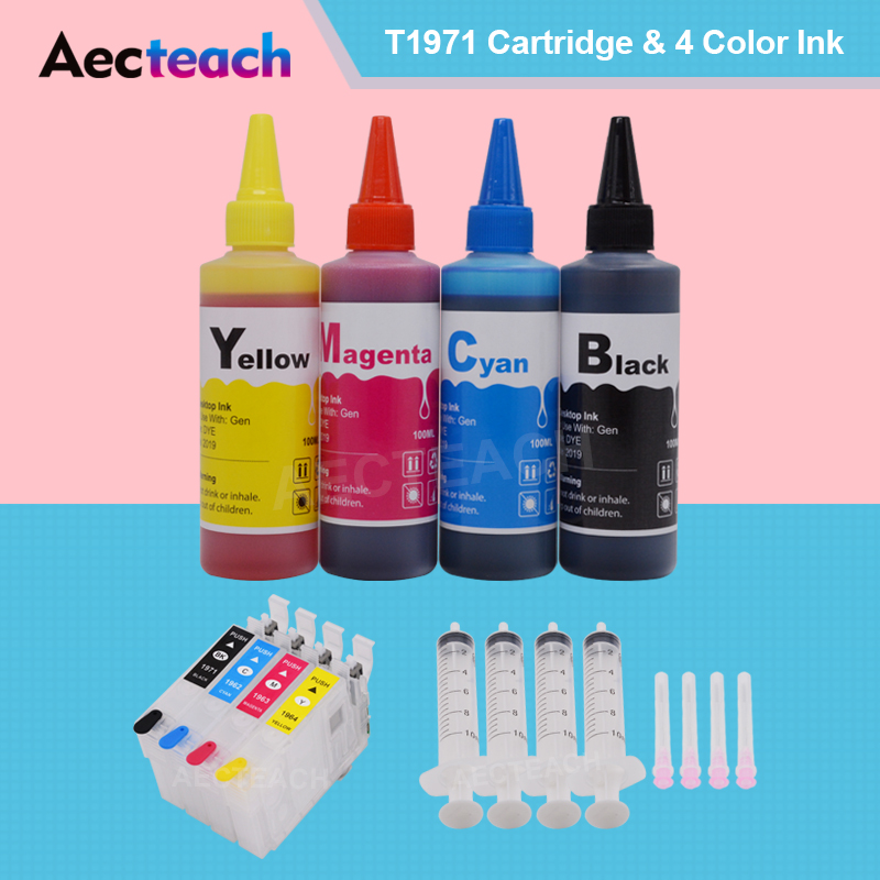 Aecteach T1971 T1962 T1963 T1964 Refillable Ink Cartridge for <font><b>Epson</b></font> Expression <font><b>XP</b></font>-101 201 211 401 204 Printer +<font><b>400</b></font> ml Bottle Ink image