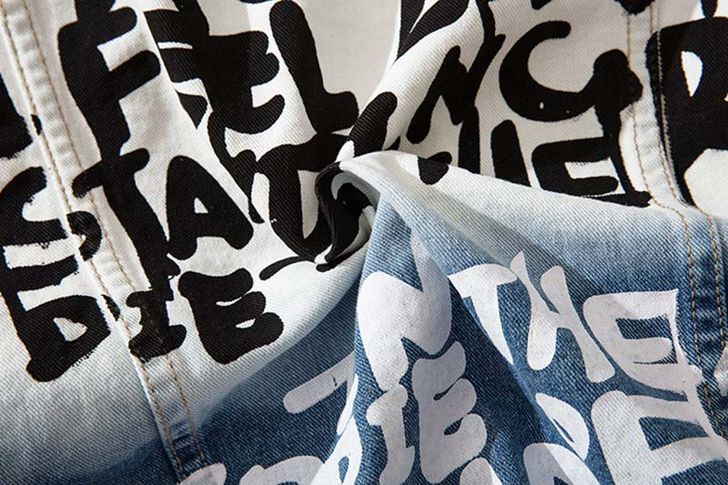 Mcikkny High Street Gradient Color Jeans Jackets Men Letter Graffiti Denim Jackets For Male Streetwear (2)